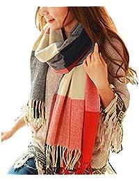 Womens Fashion Long Plaid Shawl Big Grid Winter Warm Lattice Large Scarf