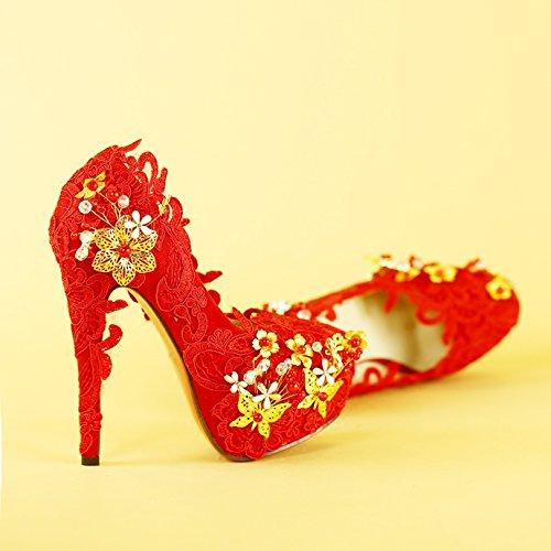 KPHY-Rojo High-Heeled Puntilla hecha a mano de cristal flor de mariposa Zapatos de novia vestido de novia vestido de novia zapatos de boda 41 Thirty-four