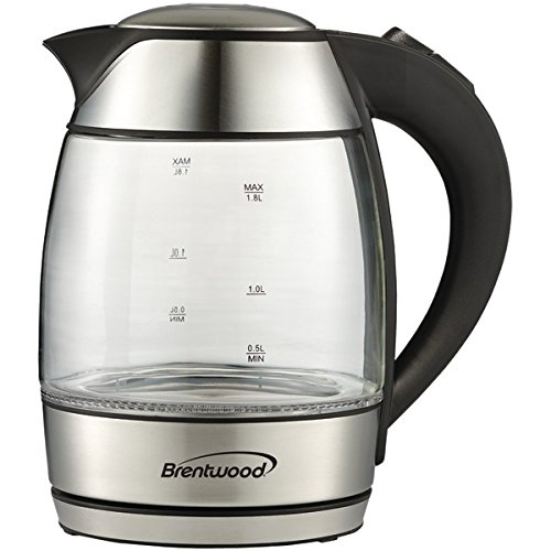 (Brentwood Appliances KT-1950BK Tempered Glass Tea Kettles, 1.8-Liter, Black)