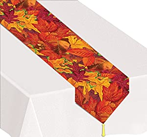 "Beistle 90019 Printed Fall Leaf Table Runner, 11"" x 6"
