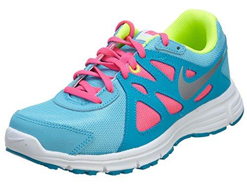 Nike Revolution 2 GS - Zapatillas para niña CLRWTR/MTLLC SLVR-BL LGN-VLT