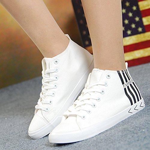 Easemax Dames Trendy Canvas Strepen Vetrokken Ronde Neus Hoge Top Sneakers Blauw