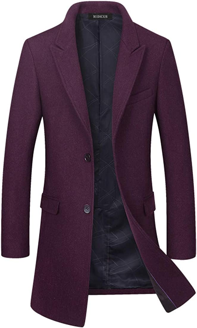 Nidicus Men Quilted Mid Long Blazer Jacket Notched Collar Single Breasted Overcoat