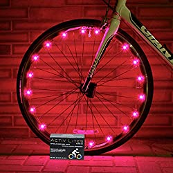 Super Cool LED Bike Wheel Lights - Best Christmas Gifts & Birthday Presents for Boys Girls and Fun Adults. BATTERIES INCLUDED! Get 100% Brighter & Safe Bicycle Spokes Rims & Tires (1 pk) (Pink)