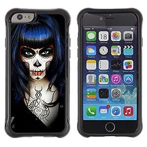 Be-Star único patrón Impacto Shock - Absorción y Anti-Arañazos Funda Carcasa Case Bumper Para Apple iPhone 6(4.7 inches) ( Goth Death Girl Rock Metal Black )