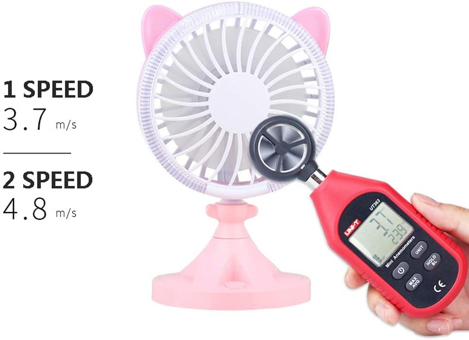 Mini USB Table Desk Personal Fan Handheld Fan Cat Shape Built-in LED Atmosphere Light for Home Office Metal Design Quiet Operation USB Cable Fan Color : Pink, Size : One Size