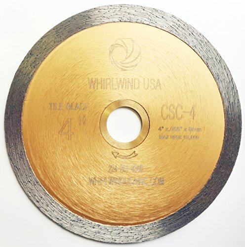 Whirlwind USA LCPC 4 in. Continuous Rim Diamond Tile Blades for Materials with Porcelain and Glass Included (Factory Direct Sale) (Glass Saw Blade)