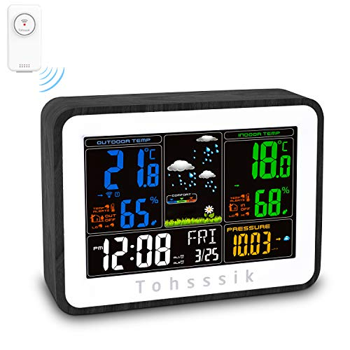Weather Station, Rechargeable Weather Stations Wireless Indoor Outdoor Thermometer Hygrometer, with Color Screen, Weather Forecast, Alarm Clock, Temperature Alarm, Adjustable Bright(with 1 Sensor) (Weather Crosse Weather Station Channel La)
