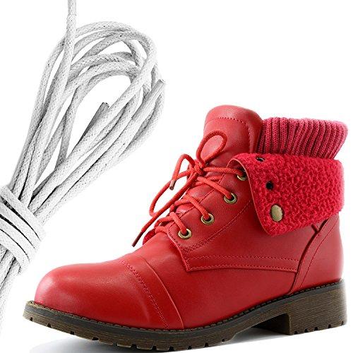 Dailyshoes Womens Boot Style Lace Up Maglione Stivaletto Alla Caviglia Con Taschino Per Porta Carte Di Credito Tasca Porta Soldi, Bianco Rosso Pu