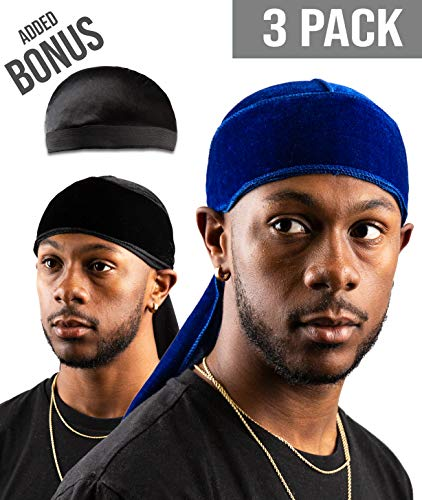 (Premium Velvet Durag For Men by Royal Waves | Pack Of 3 | Blue & Black Wave Caps + Bonus Dome Cap | Extra Long & Wide Straps, One Size Fits All | Deluxe Supreme Rags For 360 Waves & Wavebuilder)