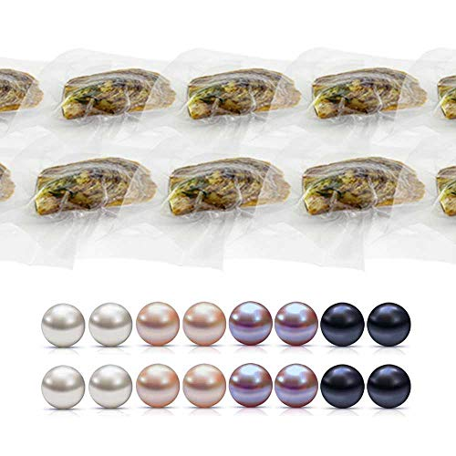 (6-7mm Round Akoya Cultured Pearl Oyster 50pcs (White, Pink, Purple,Dyed Black))