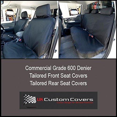 UK Custom Covers SC139B-SC140B Tailored Heavy Duty Waterproof Front & Rear Seat Covers -Black