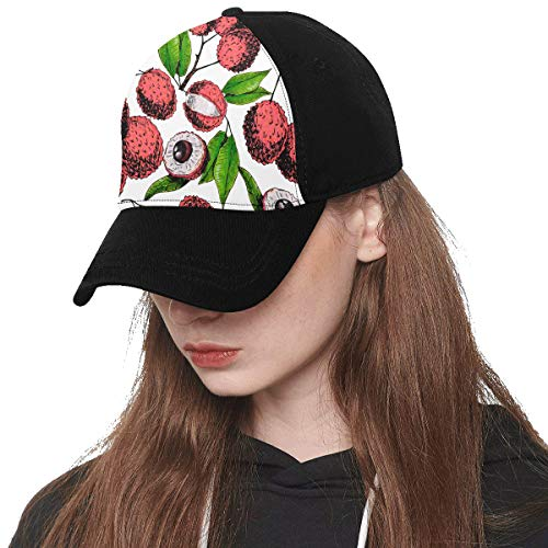 Front Panel Custom Lychee Fruit Sweet Cool Summer Printing Baseball Hat Adjustable Size Curved Cap for Hip-hop Sports Summer Beach Outdoor Activities Unisex
