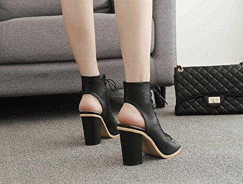 Elegante Lace Inglaterra Fashion Heels Fish Sweet Moda Sandals Thick De Style New Roma High Negro Jazs® Coreana Versión Sexy Boca 4wqxatE