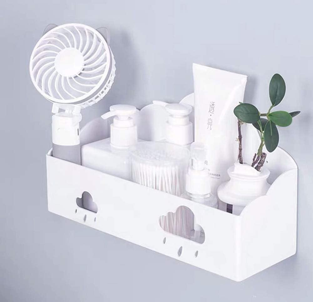 Bedside Organizer Wall Mount Self Adhesive Bedside Shelf for Bedroom Dorm Bathroom Phone iPad Remote Glasses Caddy Holder (Cloud)