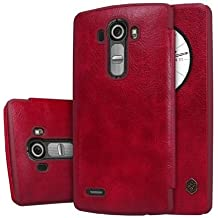 """Quick Circle Case for LG G4 H815 H810 Nillkin Slim Flip Leather Cover Smart Sleep Wake Protection Shell for LG G4 5.5"""" (Red)"""