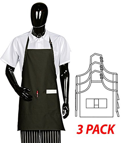 Hilite Uniform Item: 822P3A-BK, Adjustable Neck Bib Apron, Three Center Pockets, 28