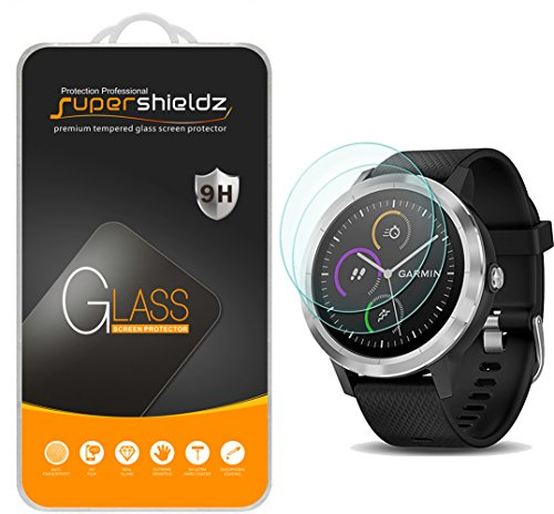 [2-Pack] Supershieldz for Garmin Vivoactive 3 (Not Fit for Vivoactive 3 Music) Tempered Glass Screen Protector, Anti-Scratch, Bubble Free, Lifetime Replacement