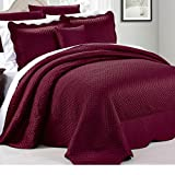 4pc 110 X 120 Burgundy Red Oversized Bedspread Queen Floor, Hangs Over Edge Bedding Drops Side Bed Frame Drapes Large Extra Wide Long French Country Matte Satin Pattern, Polyester