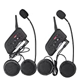 Fodsports 6 Riders 1200M Motorcycle Helmet Communication System, Bluetooth Intercom Headset Headphones for Motorbike&Skiing, Dual of hard Cable
