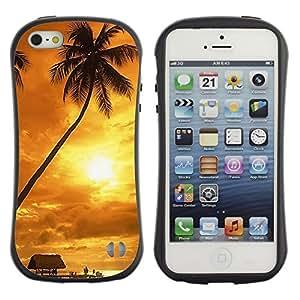 Pulsar iFace Series Tpu silicona Carcasa Funda Case para Apple iPhone 5 / iPhone 5S , Sunset coconut Beautiful Nature 122