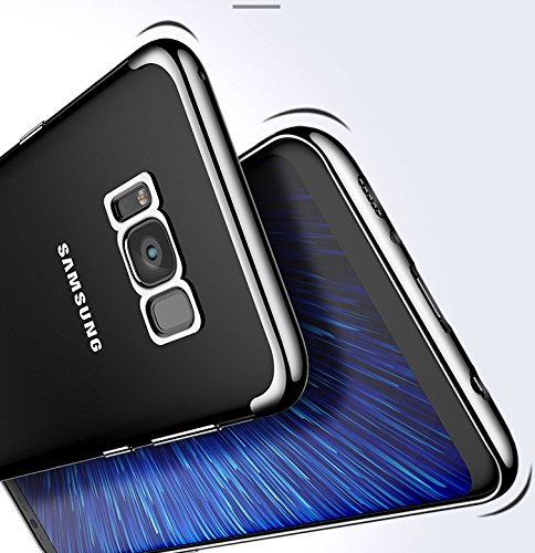 Funda Samsung Galaxy S8 plus TPU de Transparente Silicona Suave Case Cover Flexible teléfono protectora Antideslizante Resistente Enchapado Bumper Negro