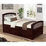 Merax. Noah Twin Size Platform Storage Bed Solid Wood Bed 6 Drawers (Espresso)