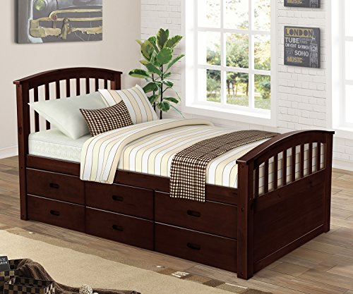 Image of the Merax. Twin Size Platform Storage Bed Solid Wood Bed with 6 Drawers (Natural) (Espresso)