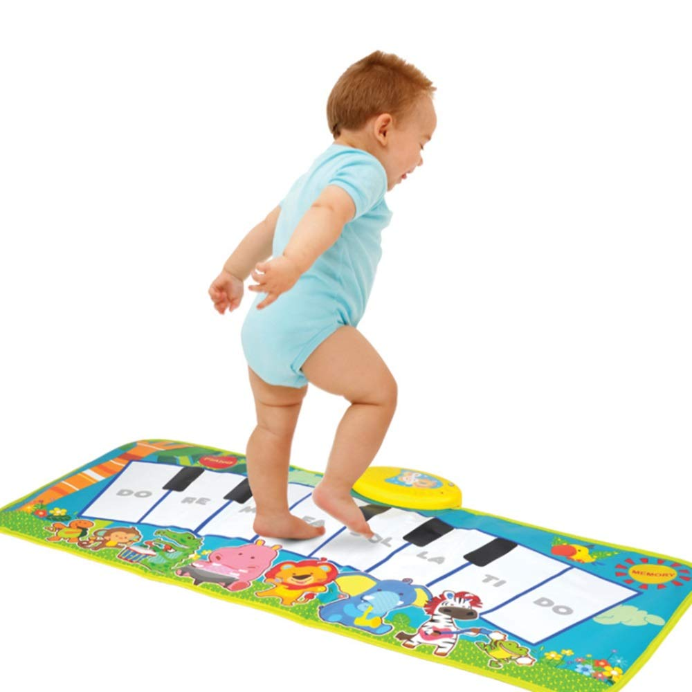 Play Keyboard Mat Cartoon Animals 32 Inches 8 Keys Foldable Floor Keyboard Piano Dancing Activity Mat Musical Keyboard Playmat With Demo Memory Play Touch-sensitive Step And Play Instrument Toys For T by GAOCAN-gq (Image #1)
