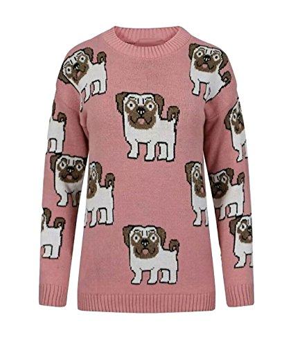 Pull Femme Print Longues Pink Multi Bleu Taille Manches 21fashion Pug Unique BC1xwdqqPF