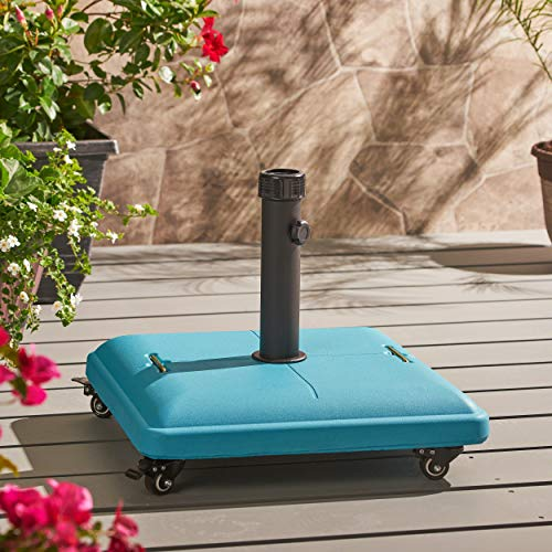 (Great Deal Furniture 303991 Louise Outdoor Teal Concrete Square 80lb Base with Steel Umbrella Holder, 19.60 x 19.60 x 16.30,)