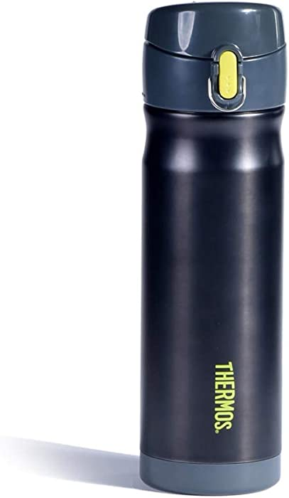 Thermos Vacuum Insulated Stainless Commuter Bottle, 16-ounce, Charcoal w/Lime Accent