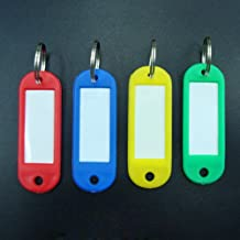 100 Pcs Assorted Color Plastic Key ID Label Tags Split Ring Keyring Keychain