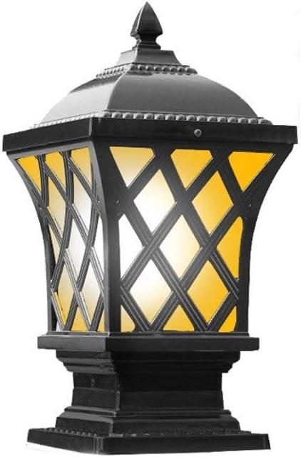 KMMY Pillar Post Lantern for Outdoor Vintage Glass Column Lamp Collection 1-Light Traditional E27 Courtyard Lamp Entrance Exterior Decking Patio Garden Landscape Lighting (Color : Black)