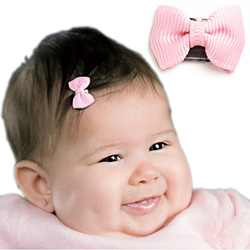 Latch Clip Grosgrain Bow Baby Girls Fine Hair (Light Pink) (Tiny Infant Light)