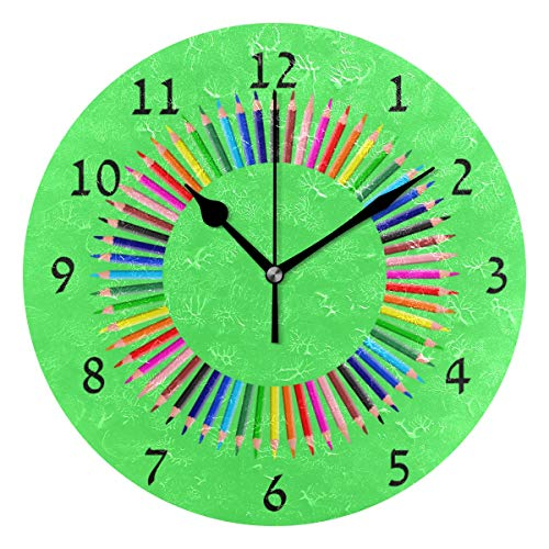 Home Decor Clock Prismatic Chromatic Rainbow Pencil Green Round Style N,Silent Non -Ticking Wall Clock, Battery Operated Art Decorative for Kitchen,Living Room,Kids Room and Coffee Decor (10 Inch) ()