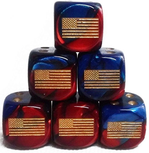 Custom & Unique {Standard Medium 16mm} 6 Ct Pack Set of 6 Sided [D6] Square Cube Shape Playing & Game Dice w/ Rounded Corner Edges w/ American Flag on Number ()