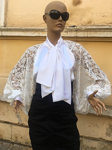 White Lace - Satin blouse, Puff sleeves blouse, Satin Shirt, Bow tie satin blouse, Formal satin blouse, Cocktail satin blouse