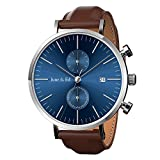 June & Ed Men's Wrist Watch Leather Band Casual Classic Quartz Watch with Sapphire Crystal Dial Window and Date / Chronograph / Waterproof Function - W0021