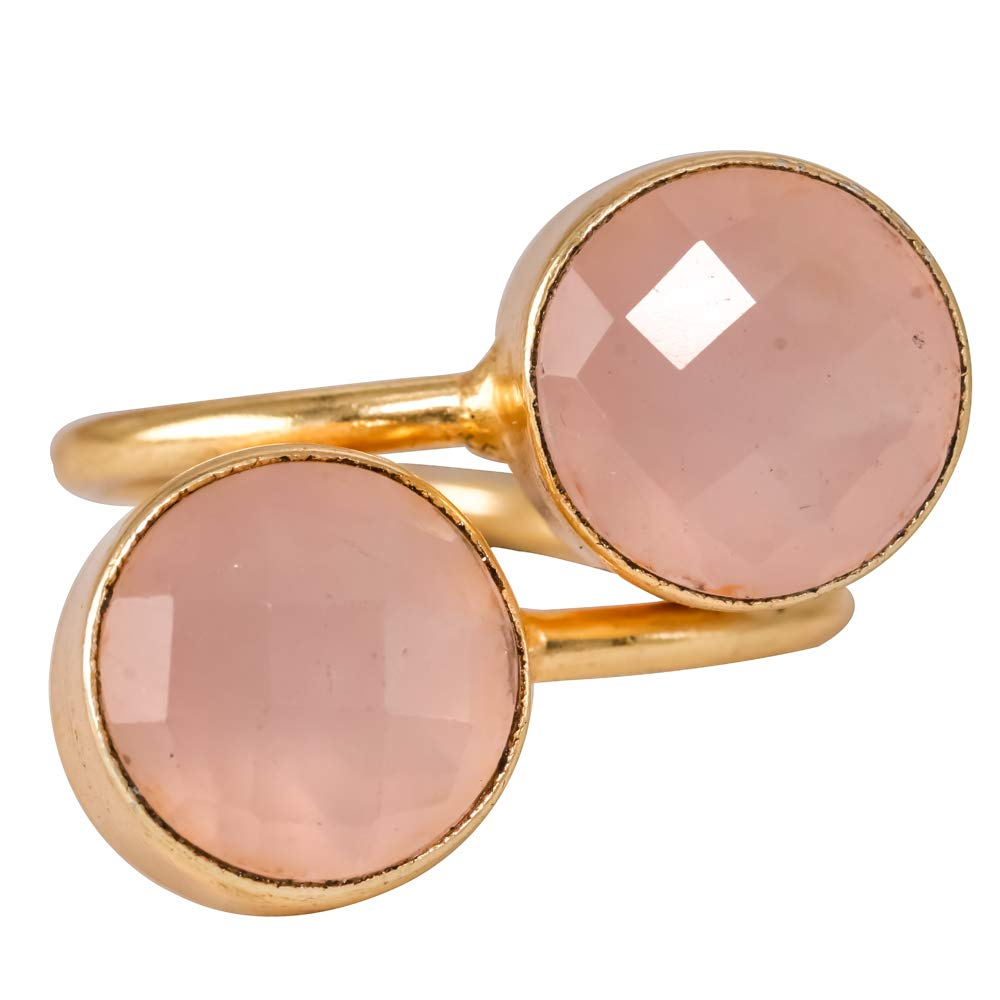 Handmade Rings Adjustable Bezel Pink Chalcedony 18k Gold Plated Brass