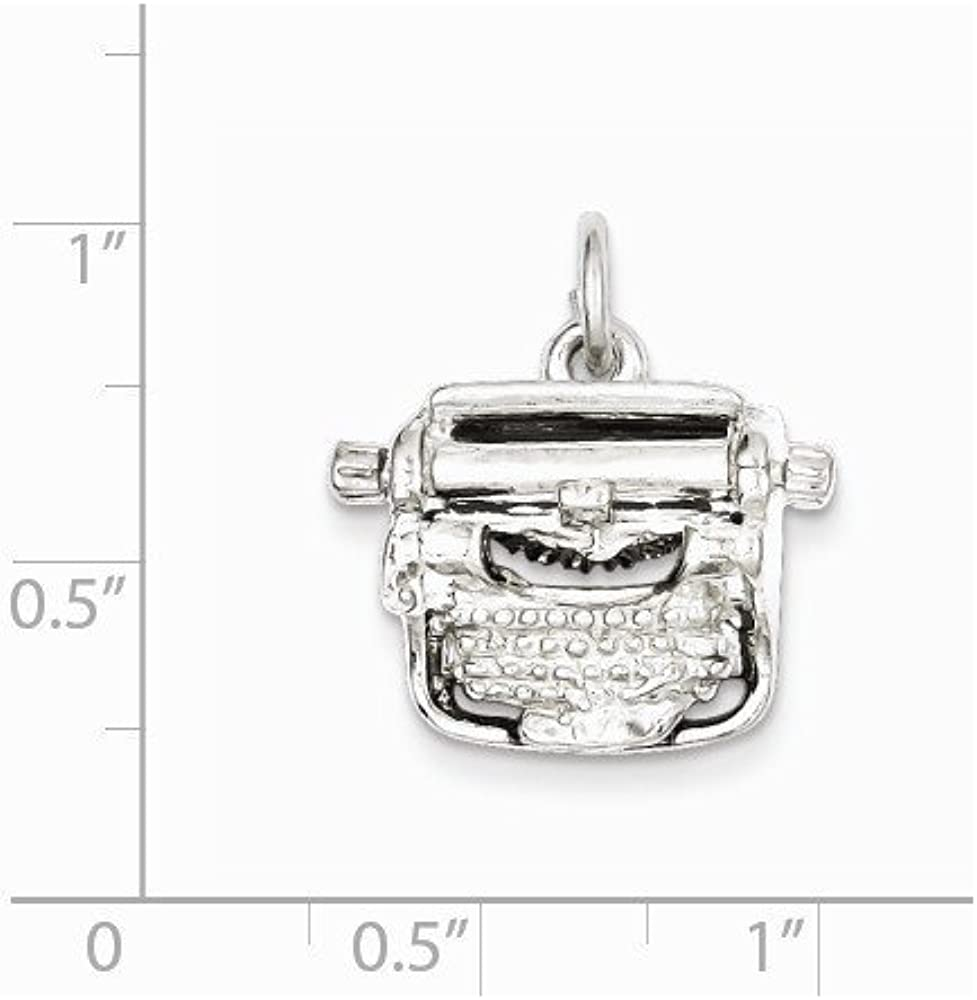 Sterling Silver Typewriter Charm Pendant 0.63 in x 0.71 in
