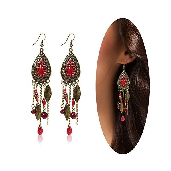 Eternity J. Women Vintage Retro Ethnic Drop Bohemian Dangle Earring Lolita Antique Bead Tassel Earrings 3