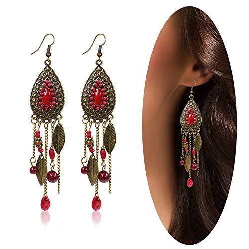 Eternity J. Women Vintage Retro Ethnic Drop Bohemian Dangle Earring Lolita Antique Bead Tassel Earrings (Red)