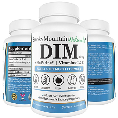 Extra Strength DIM 250mg Plus 3mg BioPerine, 50IU Vitamin E, and 60mg Vitamin C (2 months supply).Promotes Beneficial Estrogen Metabolism. Vegan, Soy-Free, Dairy-Free, Non-GMO and in Veggie Capsules