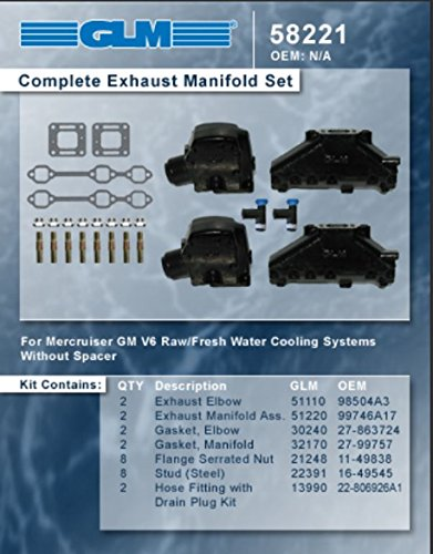 MERCRUISER COMPLETE EXHAUST MANIFOLD SET GM 4.3L V6 (CAST IRON) | GLM Part Number: 58221
