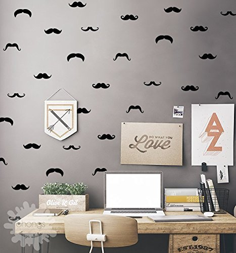 Mustache Wall Decal / Mustache Set / Mustache Sticker / Little Man Wall Decal / Boys Room decor / Removable wall sticker / Home decor / gift