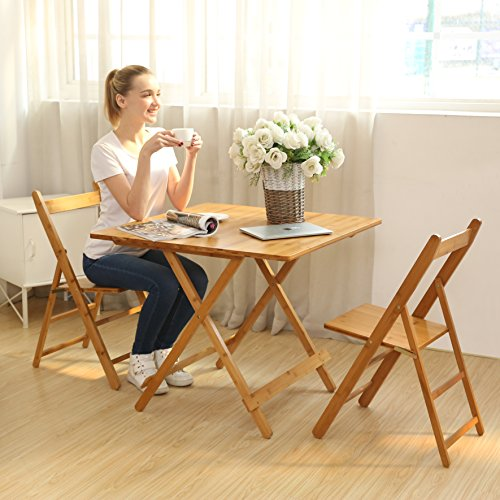 UNICOO - Bamboo Square Folding Table With 4 Folding Chairs, 5 Piece Card Table Patio Table Dining Table and Chairs Set (T80-S)