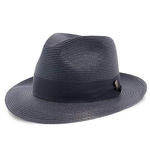 Dobbs Rosebud Straw Hat - Navy - 7 1/8