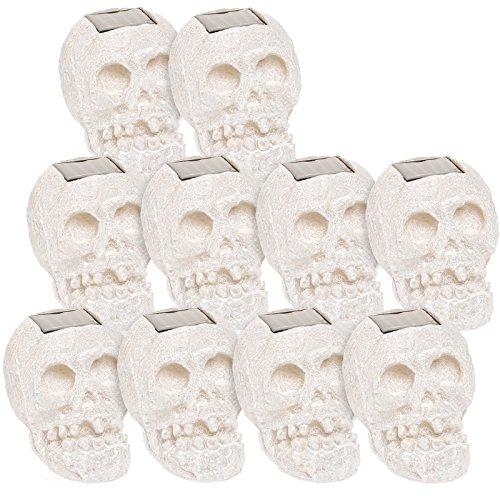 (10 Pack) SKULLar Translucent Solar LED Outdoor Skull Fright Lights (White) by GreenLighting