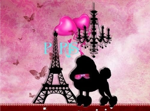 CAKEUSA Pink and White PARIS Damask LADY POODLE Eiffel Tower Birthday 1/2 Size Frosting Sheet Cake Topper Edible (Poodle Size)